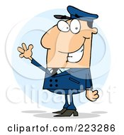 Royalty Free RF Clipart Illustration Of A Waving White School Bus Driver In A Blue Uniform by Hit Toon