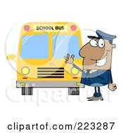 Royalty Free RF Clipart Illustration Of A Friendly Black School Bus Driver Waving By A Bus