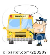 Royalty Free RF Clipart Illustration Of A Friendly Caucasian School Bus Driver With A Word Balloon Waving By A Bus by Hit Toon