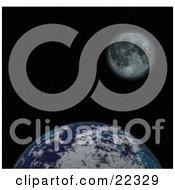 Clipart Illustration Of A Fictional Planet Earth With Clouds Against The Black Starry Night Of Space With The Moon In The Distance