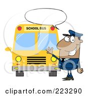 Royalty Free RF Clipart Illustration Of A Friendly African American School Bus Driver With A Word Balloon Waving By A Bus by Hit Toon