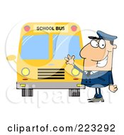 Royalty Free RF Clipart Illustration Of A Friendly Caucasian School Bus Driver Waving By A Bus by Hit Toon