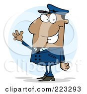 Royalty Free RF Clipart Illustration Of A Waving African American School Bus Driver In A Blue Uniform by Hit Toon