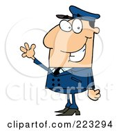 Royalty Free RF Clipart Illustration Of A Waving Caucasian School Bus Driver In A Blue Uniform by Hit Toon