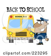 Royalty Free RF Clipart Illustration Of A Back To School Greeting Over A Black School Bus Driver Waving By A Bus by Hit Toon