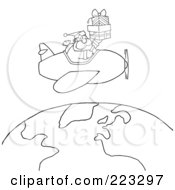 Royalty Free RF Clipart Illustration Of A Coloring Page Outline Of Santa Flying A Plane And Holding Gifts Above The Globe