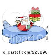 Caucasian Santa Flying A Plane And Holding Up Gift Boxes by Hit Toon