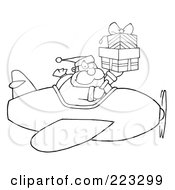 Royalty Free RF Clipart Illustration Of A Coloring Page Outline Of Santa Flying A Plane And Holding Up Gift Boxes