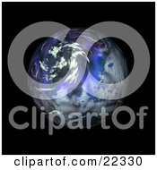 Fictional Blue And Purple Planet With Clouds Spinning In The Dark Black Night Of Space