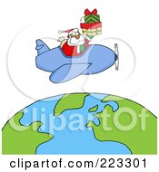 Royalty Free RF Clipart Illustration Of A Black Santa Flying A Plane And Holding Gifts Above The Globe