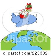 Royalty Free RF Clipart Illustration Of A Caucasian Santa Flying A Plane And Holding Gifts Above The Globe