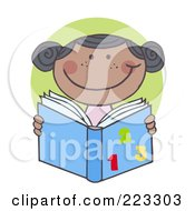 Royalty Free RF Clipart Illustration Of An African School Girl Reading A Math Book