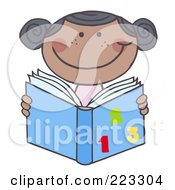 Royalty Free RF Clipart Illustration Of A Black School Girl Reading A Math Book