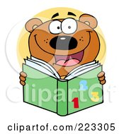 Royalty Free RF Clipart Illustration Of A School Bear Reading A Green Math Book