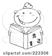 Royalty Free RF Clipart Illustration Of A Coloring Page Outline Of A School Boy Reading A Math Book by Hit Toon