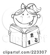 Royalty Free RF Clipart Illustration Of A Coloring Page Outline Of A Girl Reading A Math Book