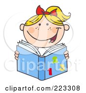 Royalty Free RF Clipart Illustration Of A Blond Caucasian School Girl Reading A Math Book