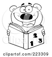 Royalty Free RF Clipart Illustration Of A Coloring Page Outline Of A School Bear Reading A Math Book