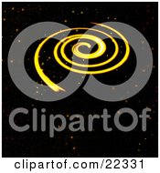 Fictional Yellow Spiral Galaxy Spinning With Orange Red And Yellow Stars Of Outer Space