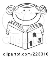 Royalty Free RF Clipart Illustration Of A Coloring Page Outline Of A School Girl Reading A Math Book