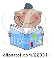 Royalty Free RF Clipart Illustration Of A Happy Black School Boy Reading A Math Book by Hit Toon
