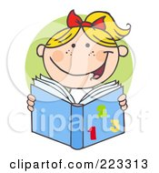 Royalty Free RF Clipart Illustration Of A Blond School Girl Reading A Math Book