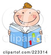 Royalty Free RF Clipart Illustration Of A Happy Caucasian School Boy Reading A Math Book by Hit Toon