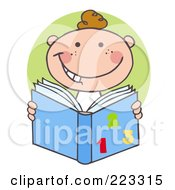 Royalty Free RF Clipart Illustration Of A Happy White School Boy Reading A Math Book by Hit Toon