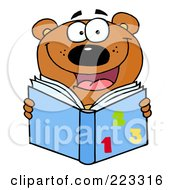 Royalty Free RF Clipart Illustration Of A Happy School Bear Reading A Math Book by Hit Toon