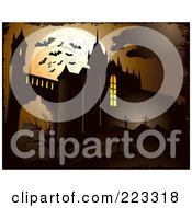 Royalty Free RF Clipart Illustration Of A Bats Flying Against A Full Moon Over A Cemetery And Castle Ruins by Eugene