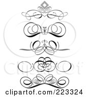 Royalty Free RF Clipart Illustration Of A Digital Collage Of Ornamental Black And White Scroll Designs On A White Background by KJ Pargeter #COLLC223324-0055