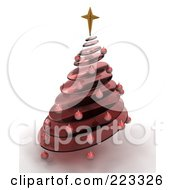 Royalty Free RF Clipart Illustration Of A 3d Red Glass Spiral Christmas Tree With A Star And Red Ornaments