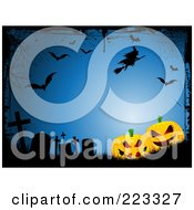 Royalty Free RF Clipart Illustration Of A Halloween Background Of Spooky Jackolanterns With Tombstones A Witch Web And Bats On Blue With Black Grunge Borders