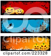 Royalty Free RF Clipart Illustration Of A Digital Collage Of Three Grungy Halloween Pumpkin Witch And Haunted House Headers by KJ Pargeter