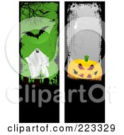 Royalty Free RF Clipart Illustration Of A Digital Collage Of Two Grungy Ghost Cemetery And Pumpkin Vertical Borders