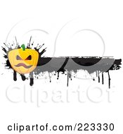 Royalty Free RF Clipart Illustration Of A Grungy Halloween Pumpkin Border With Black Ink 1