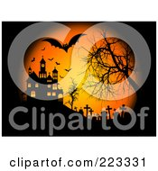 Royalty Free RF Clipart Illustration Of A Halloween Background Of Bats Flying Over A Cemetery And Haunted House With A Bare Tree On Black And Orange by KJ Pargeter