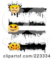Royalty Free RF Clipart Illustration Of A Digital Collage Of Three Grungy Halloween Pumpkin Borders With Black Ink