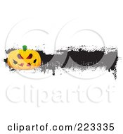 Royalty Free RF Clipart Illustration Of A Grungy Halloween Pumpkin Border With Black Ink 3