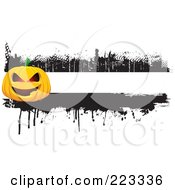 Royalty Free RF Clipart Illustration Of A Grungy Halloween Pumpkin Border With Black Ink 2