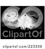 Spooky Ghost By A Full Moon With Vampire Bats Above A Cemetery