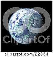 Clipart Illustration Of A Fictional Planet Earth With Blue Oceans White Clouds And Green Continents Glowing In The Blackness Of Space