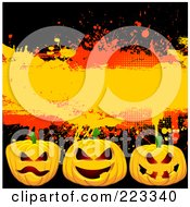 Royalty Free RF Clipart Illustration Of A Halloween Background Of Three Spooky Jackolanterns Over Black With Orange And Red Grunge