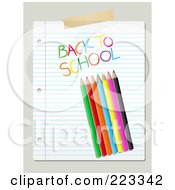 Colored Pencils And Back To School Writing On Ruled Paper Over Beige