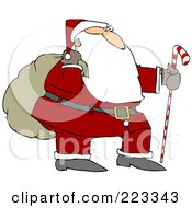 Royalty Free RF Clipart Illustration Of Santa Trekking With A Candy Cane Stick And Carrying A Sack On His Shoulder