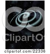 Clipart Illustration Of A Fictional Blue Spiral Galaxy Spinning With Stars Of Outer Space