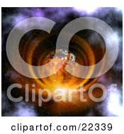 Fictional Orange Planet With White Clouds And Continents Surrounded By A Bright Vortex Of Light In A Misty Starry Sky Exploding
