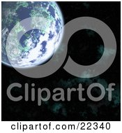 Fictional Planet Earth With Green Continents Blue Oceans And White Clouds In The Upper Left Corner Over A Green Misty Starry Night Sky