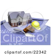Clipart Illustration Of A Custom Two Story Residential Home A Trowel Bricks And A Hardhat On Top Of Blueprints by KJ Pargeter