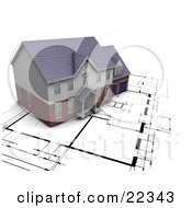 Clipart Illustration Of A Custom Residential Home Resting On Top Of Black And White Blueprints